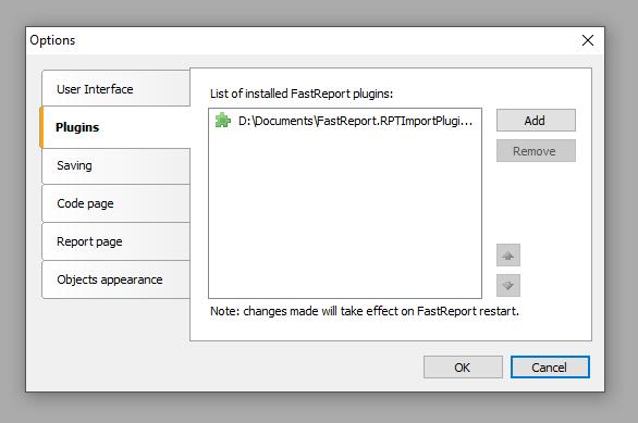 """设计器菜单""""设置-插件"""",增加插件RPTImportPlugin"""