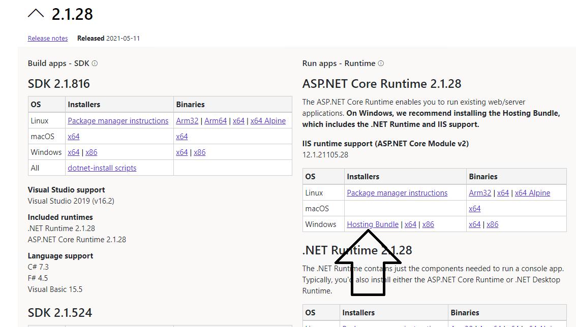 Скачивание ASP.NET Core Runtime