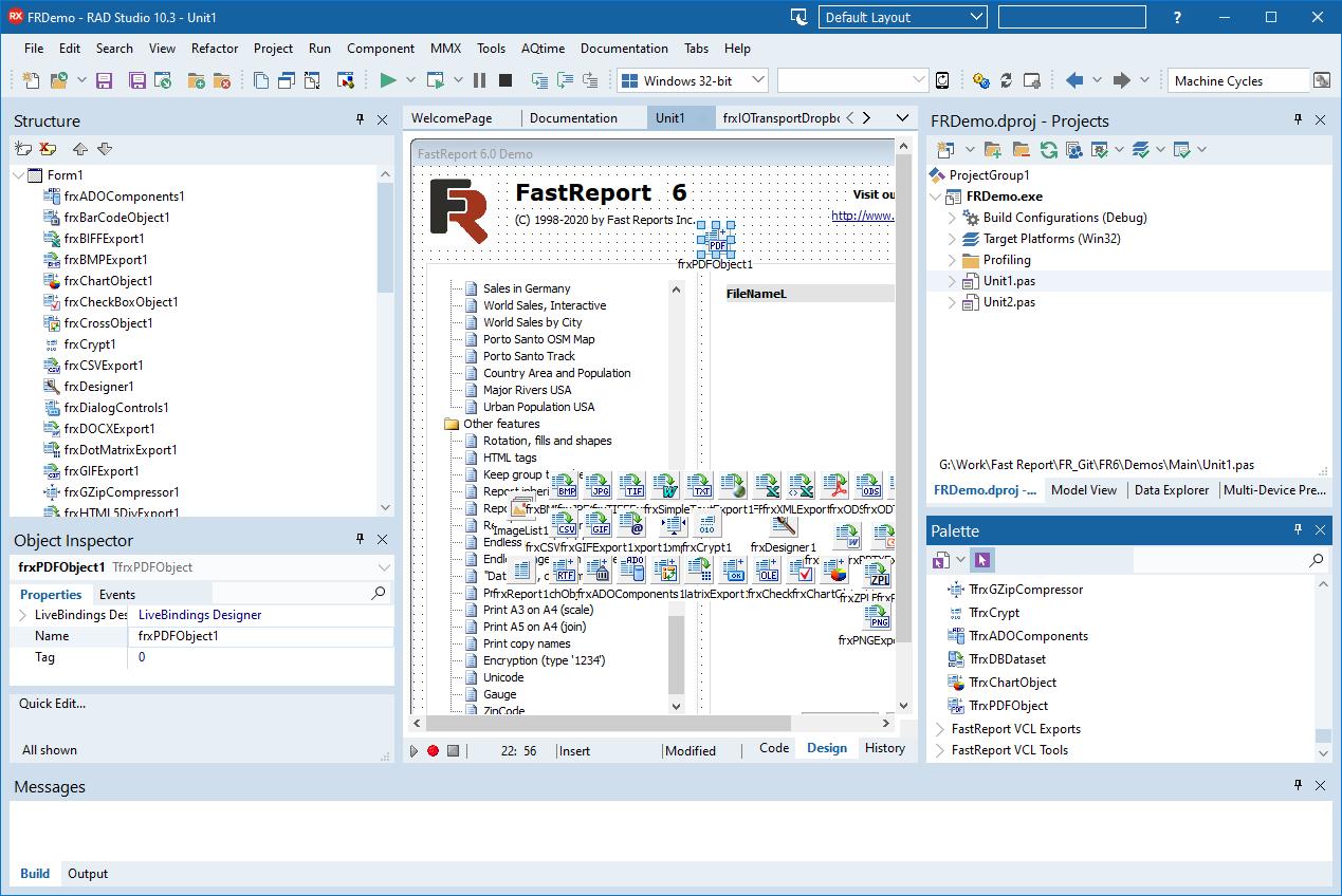 Добавление TfrxPDFObject в среде разработке Embarcadero RAD Studio