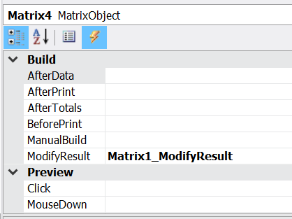 Creating a matrix event ModifyResult