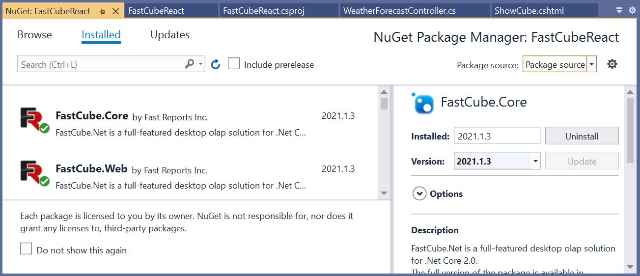 Установка пакетов FastCube.Core